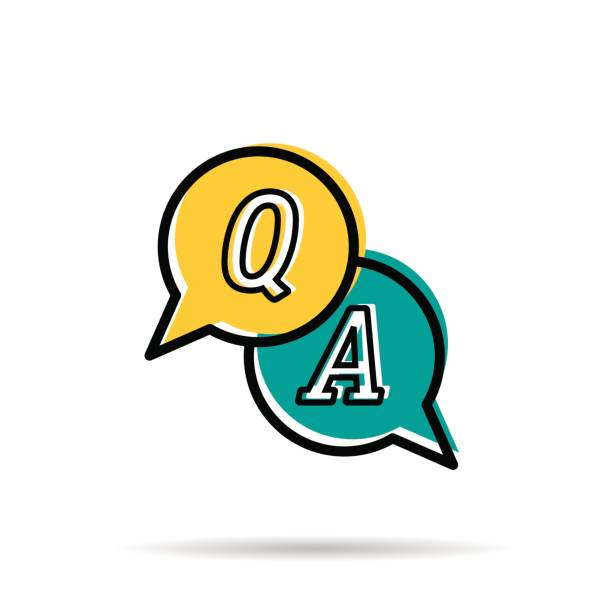 Line icon - Questions and answers Vector line icon - Questions and answers. Two yellow and blue round bubbles with letters Q and A. Modern linear style isolated on white background faq stock illustrations