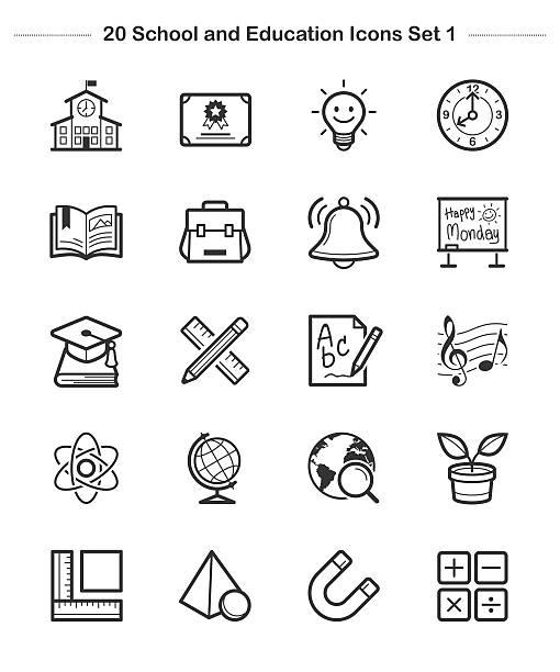 stockillustraties, clipart, cartoons en iconen met line icon - school and education icons set 1, thick line - schooltas