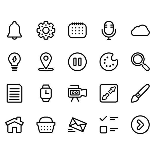 ui-linien-symbol-set - 4 - hausfarbpaletten stock-grafiken, -clipart, -cartoons und -symbole