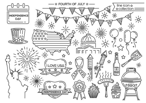 Line icon set for United Stated Independence Day Line icon set for United Stated Independence Day. Fourth of July. Vector illustration independence day illustrations stock illustrations