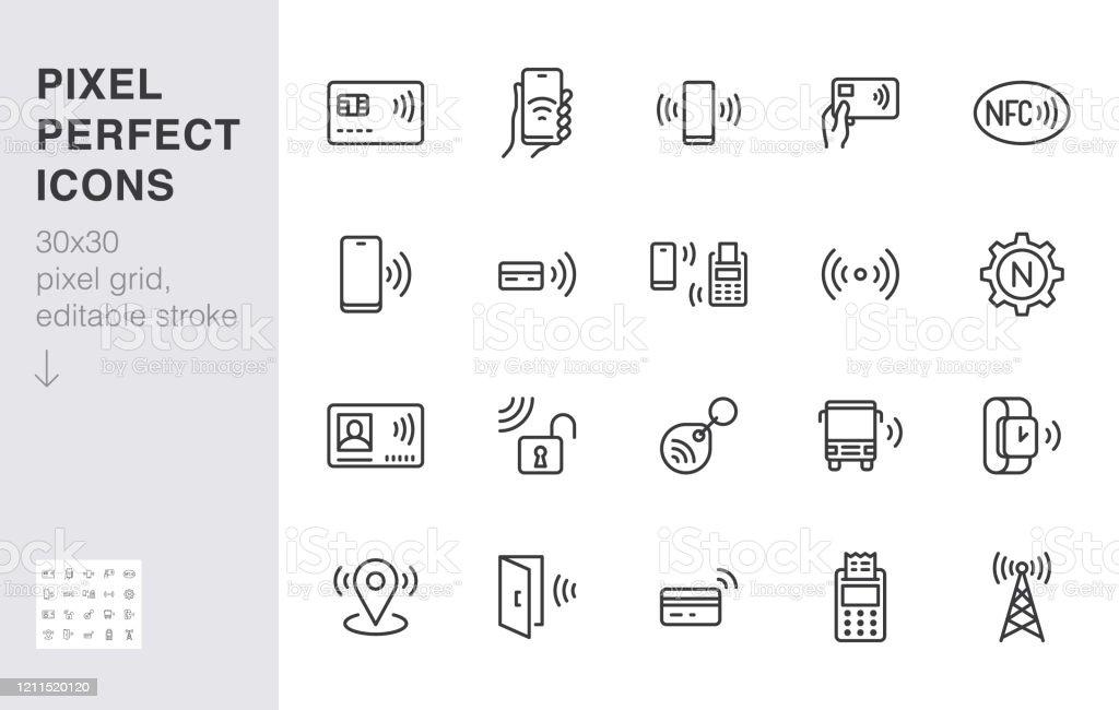NFC 라인 아이콘 설정. 근거리 필드 통신 기술, 비접촉식 결제, 칩 최소한의 벡터 일러스트가있는 카드. 스마트 폰 지불에 대한 간단한 개요 표지판. 30x30 픽셀 완벽한. 편집 가능한 스트로크 - 로열티 프리 개체 그룹 벡터 아트