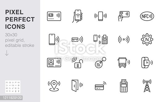 NFC line icon set. Near Field Communication technology, contactless payment, card with chip minimal vector illustration. Simple outline signs for smartphone pay. 30x30 Pixel Perfect. Editable Strokes