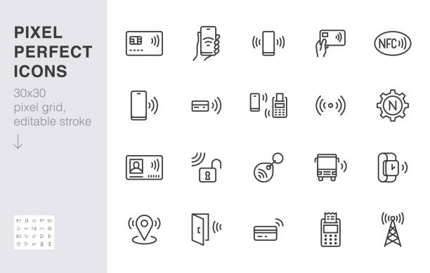 nfc line icon set. near field communication technology, contactless payment, card with chip minimal vector illustration. simple outline signs for smartphone pay. 30x30 pixel perfect. editable strokes - płacić stock illustrations