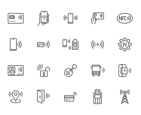 NFC line icon set. Near Field Communication technology, contactless payment, card with chip minimal vector illustration. Simple outline signs for smartphone pay. Pixel Perfect. Editable Strokes