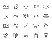 NFC line icon set. Near Field Communication technology, contactless payment, card with chip minimal vector illustration. Simple outline signs for smartphone pay. Pixel Perfect. Editable Strokes.