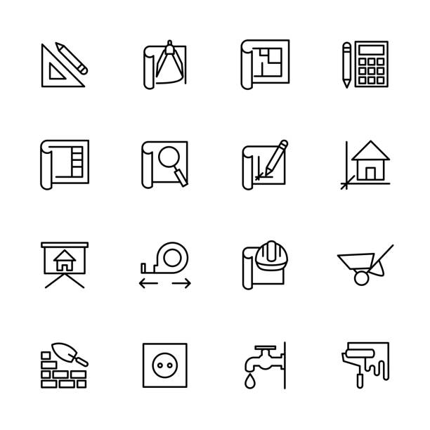 stockillustraties, clipart, cartoons en iconen met lijn icon set van architect werk stap, - architectuur