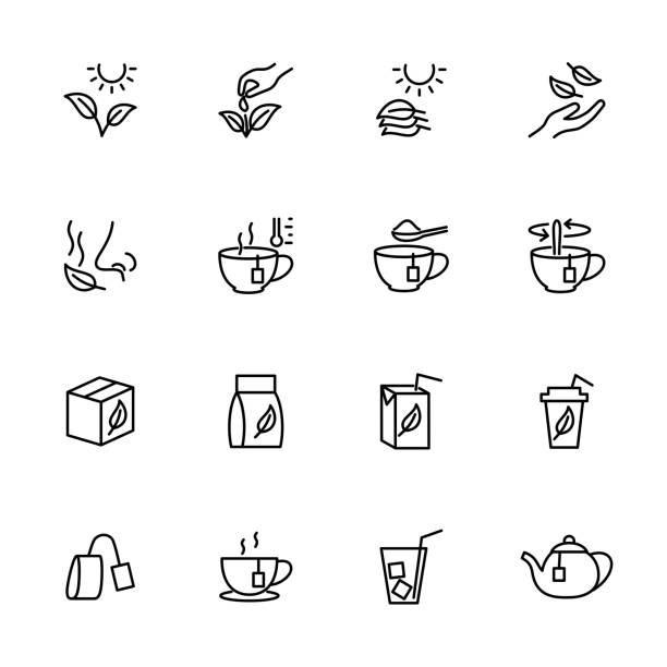 Line icon set of tea processing and serving Line icon set of tea processing and serving, also contain tea product and packaging. Editable stroke vector, isolated at white background picking harvesting stock illustrations