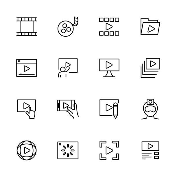 stockillustraties, clipart, cartoons en iconen met lijn pictogram set videoproductie of publicatie activiteit - gopro