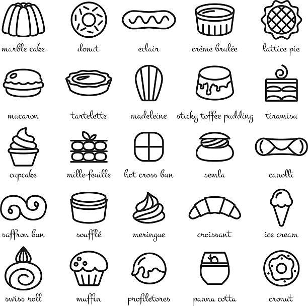 linie symbol-set der weltweit besten nachspeisen und süßigkeiten - tiramisu stock-grafiken, -clipart, -cartoons und -symbole