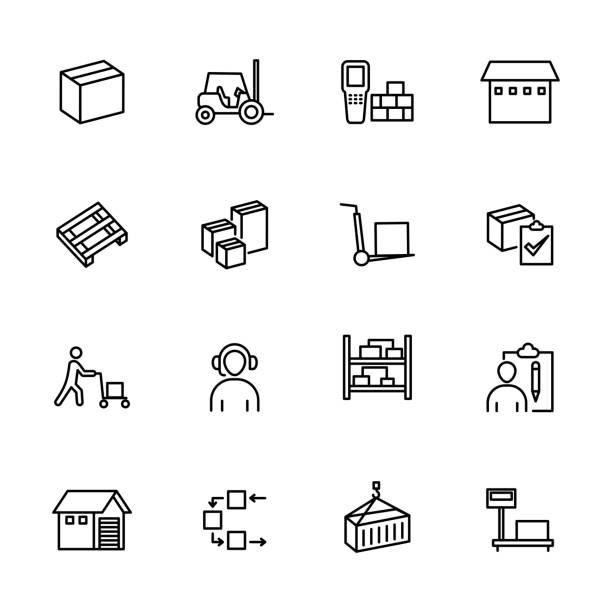 stockillustraties, clipart, cartoons en iconen met lijnpictogramset met betrekking tot activiteit in de groothandel - pallet