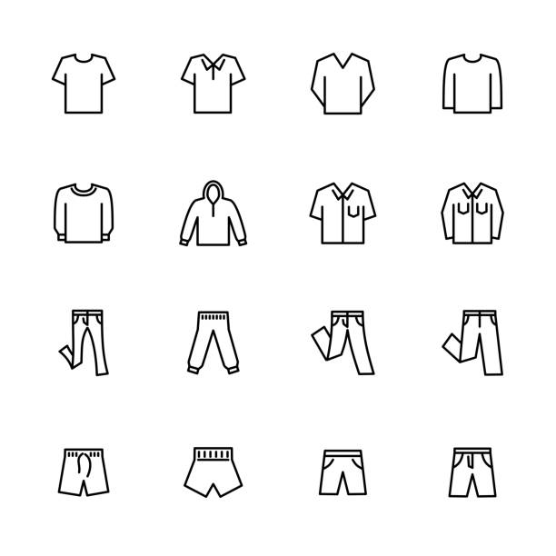 Line icon set related to casual men clothes Line icon set related to casual men clothes.Usable for e-commerce online store website. Editable stroke vector, isolated at white background skinny jeans stock illustrations