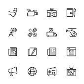 Line icon set related to news , news activity, reporting activity and news media. editable stroke vector, isolated at white background