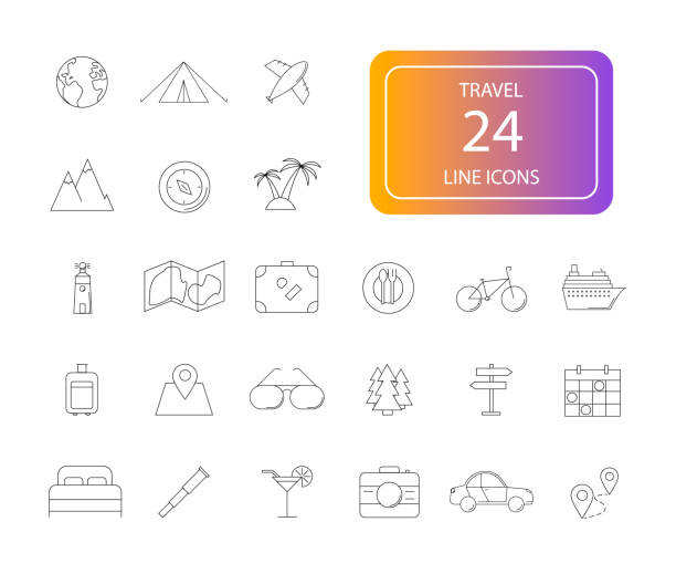 linie-icon-set. pack zu reisen. - naturkalender stock-grafiken, -clipart, -cartoons und -symbole
