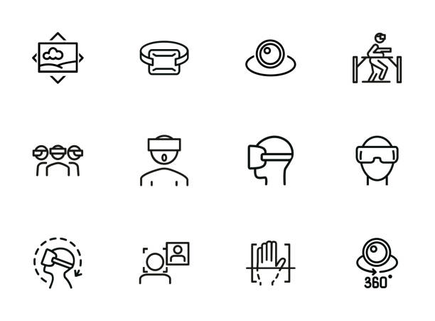 VR line icon set VR line icon set. Set of line icons on white background. Technology concept. Camera, device, virtual presentation. Vector illustration can be used for topics like modern technology, video, vlogging vr stock illustrations