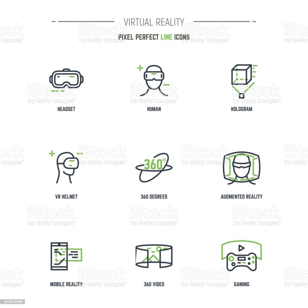 9 VR line icon set vector art illustration
