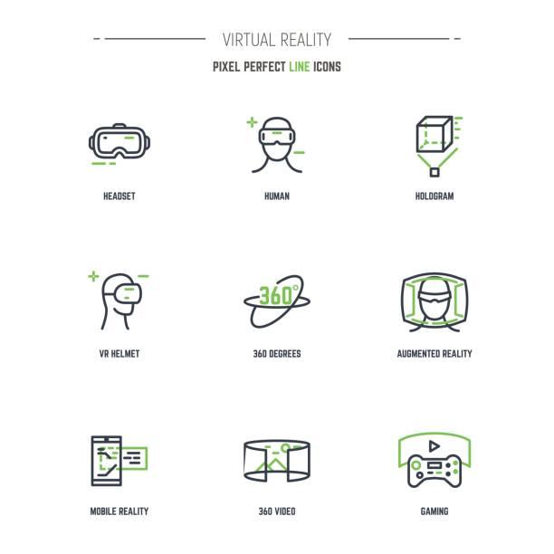9 VR-Linie-Icon-set – Vektorgrafik