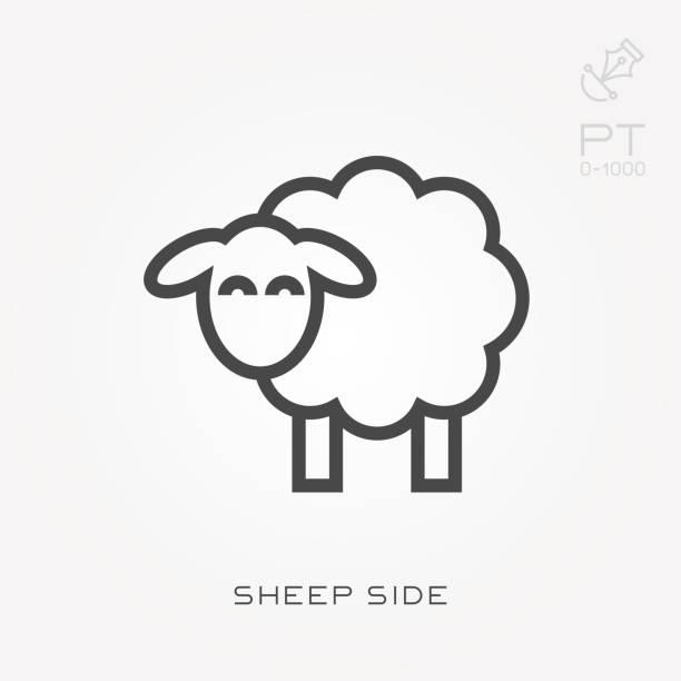 stockillustraties, clipart, cartoons en iconen met lijn pictogram schapen kant - schaap