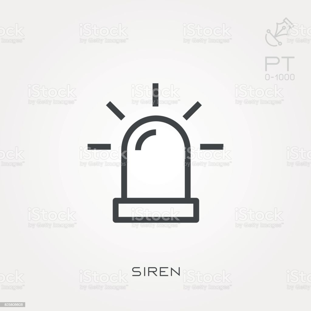 Line icon siren vector art illustration