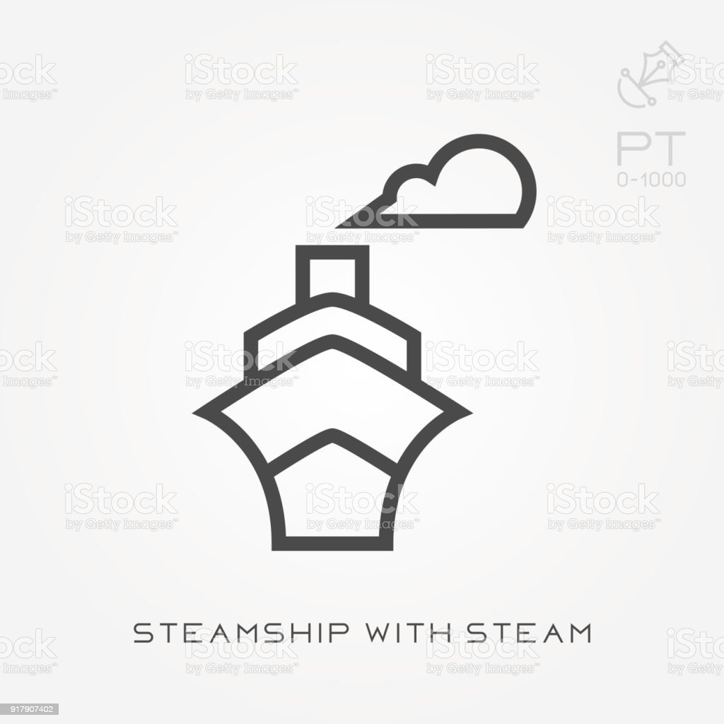 Line icon steamship with steam vector art illustration