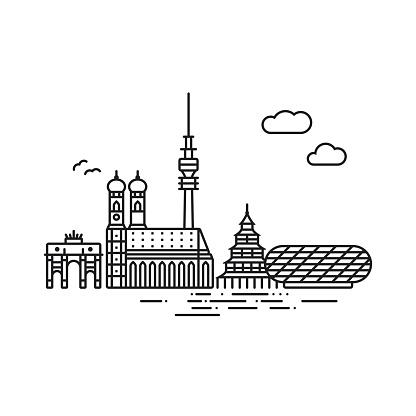 Line icon style Munich skyline vector illustration