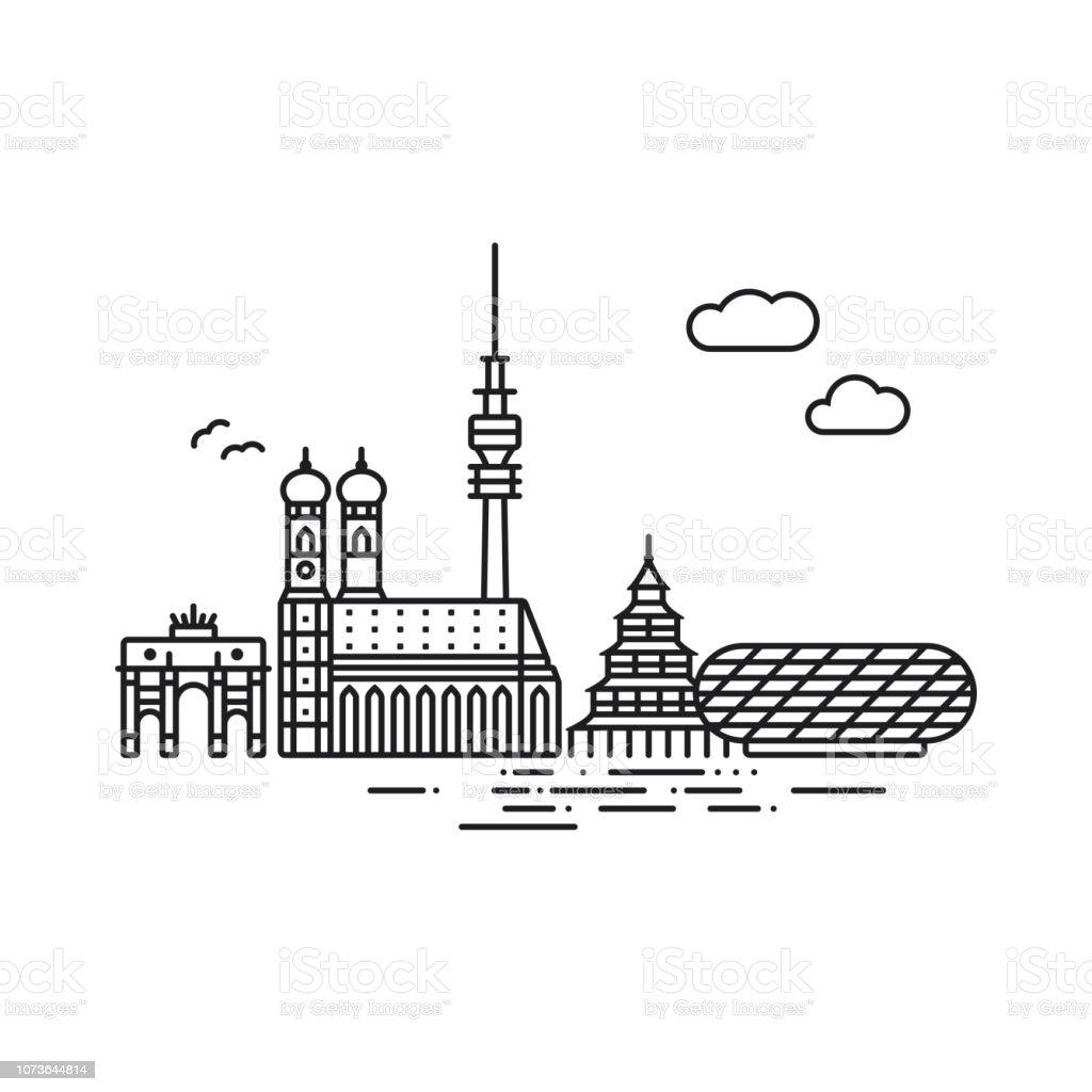 Symbol Linienart München-Skyline-Vektor-illustration – Vektorgrafik