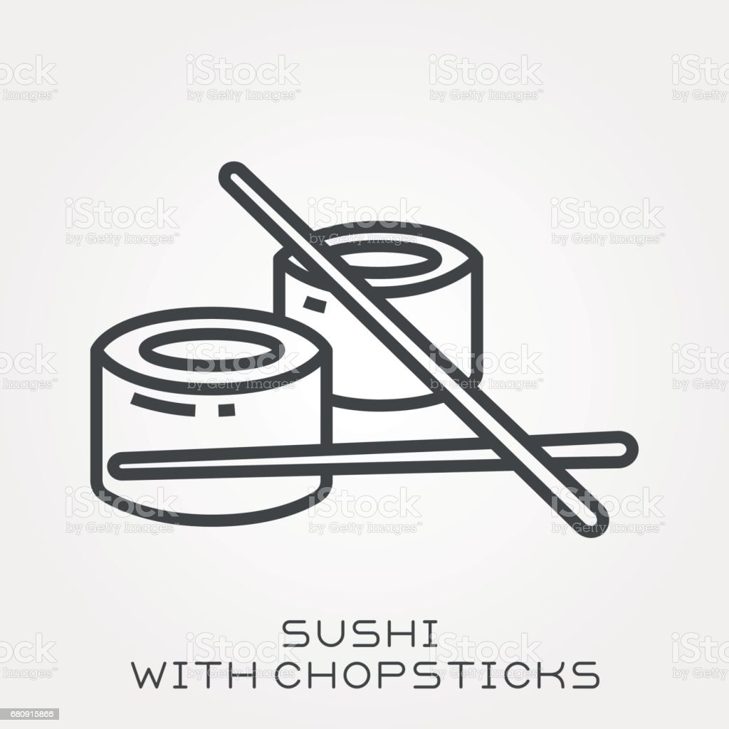 Line icon sushi with chopsticks royalty-free line icon sushi with chopsticks stock vector art & more images of art