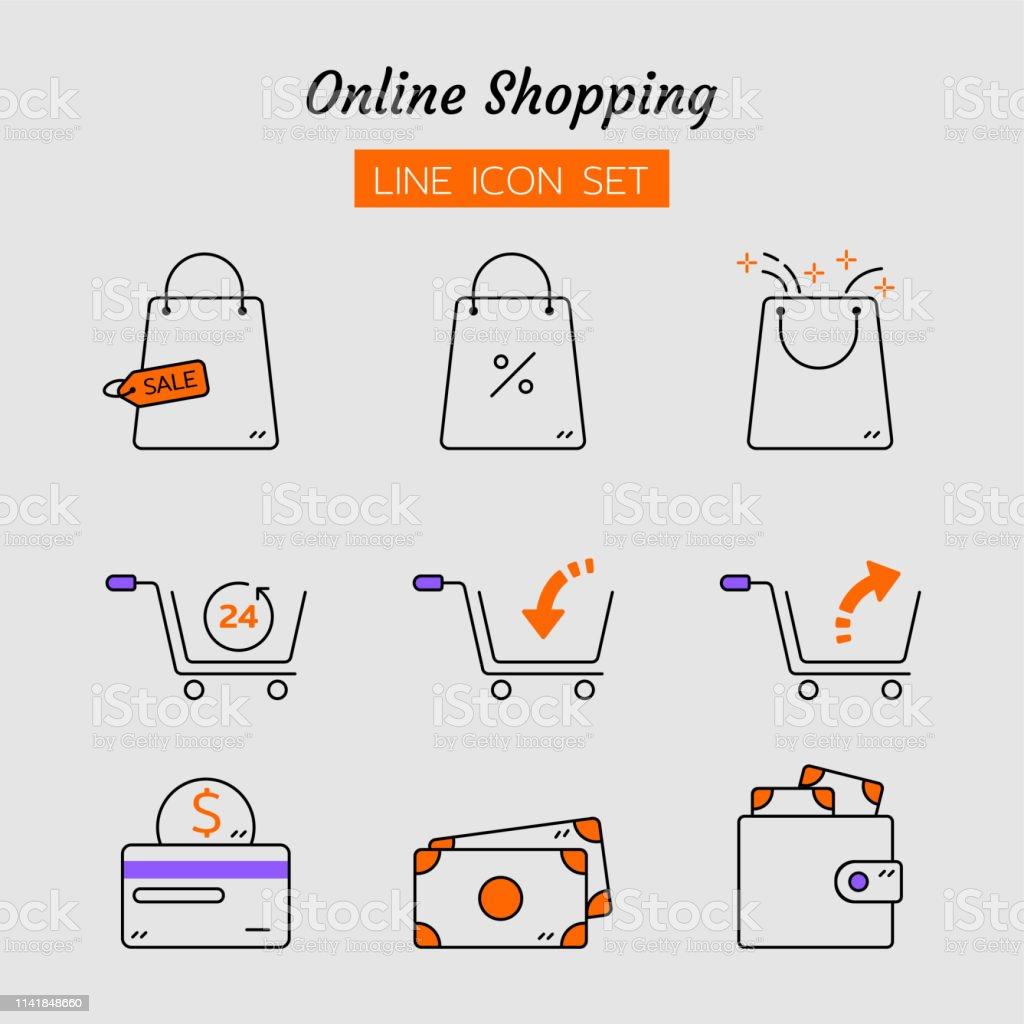 line icon symbol set, application online shopping store marketplace...