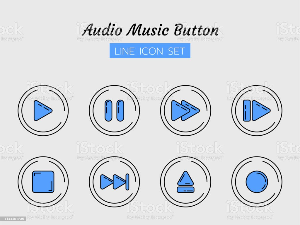 Line Icon Symbol Set Audio Video Music Control Circle