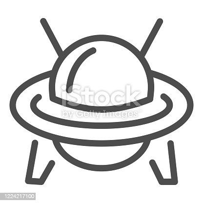 UFO line icon, transportation symbol, Flying Saucer vector sign on white background, Ufo spaceship icon in outline style for mobile concept and web design. Vector graphics