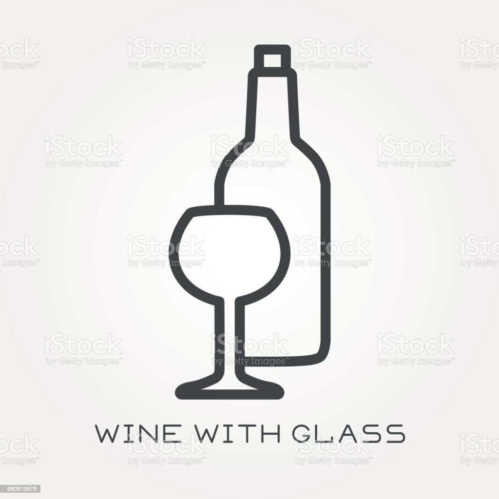 Line icon wine with glass royalty-free line icon wine with glass stock vector art & more images of alcohol