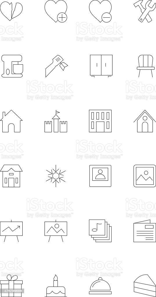 Line icons 15 vector art illustration