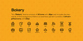 This Bakery theme consists of 16 icons with 18px and includes the keywords. In the background there is a seamless pattern consists of 24 simplified icons with 22px.