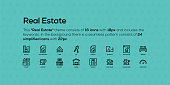 This Real Estate theme consists of 16 icons with 18px and includes the keywords. In the background there is a seamless pattern consists of 24 simplified icons with 22px.