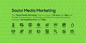 This Social Media Marketing theme consists of 16 icons with 18px and includes the keywords. In the background there is a seamless pattern consists of 24 simplified icons with 22px