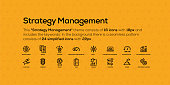 This Strategy Management theme consists of 16 icons with 18px and includes the keywords. In the background there is a seamless pattern consists of 24 simplified icons with 22px