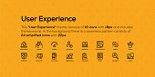 This User Experience theme consists of 16 icons with 18px and includes the keywords. In the background there is a seamless pattern consists of 24 simplified icons with 22px.