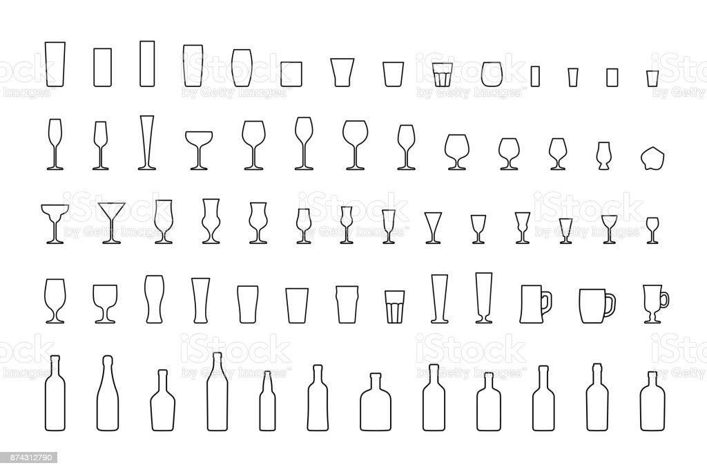 Line icons bar glasses and bottles. Vector vector art illustration
