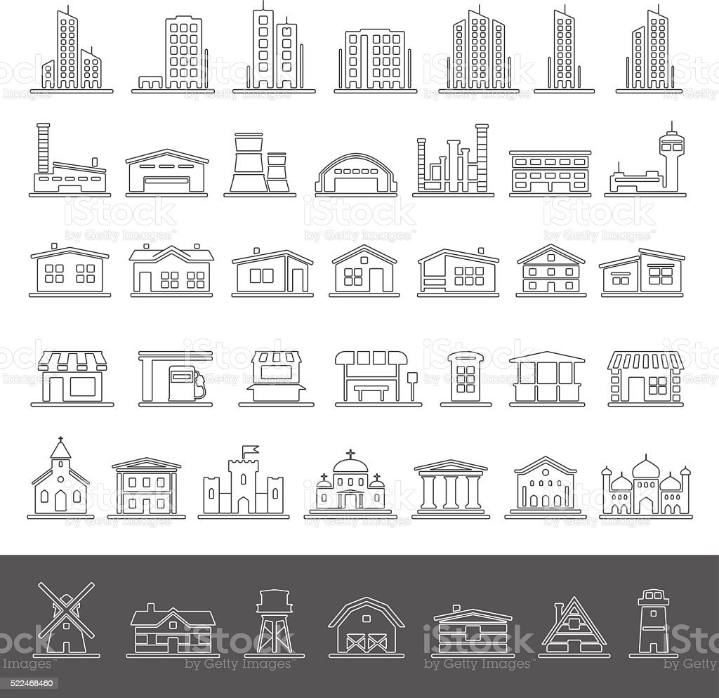 Line Icons - Buildings vector art illustration