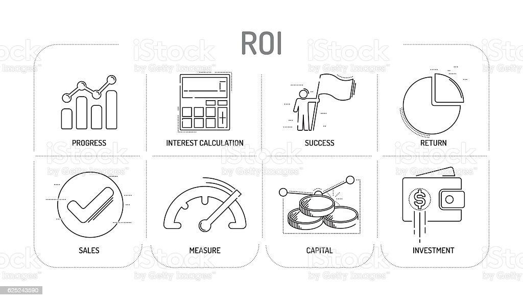 ROI - Line icons Concept vector art illustration