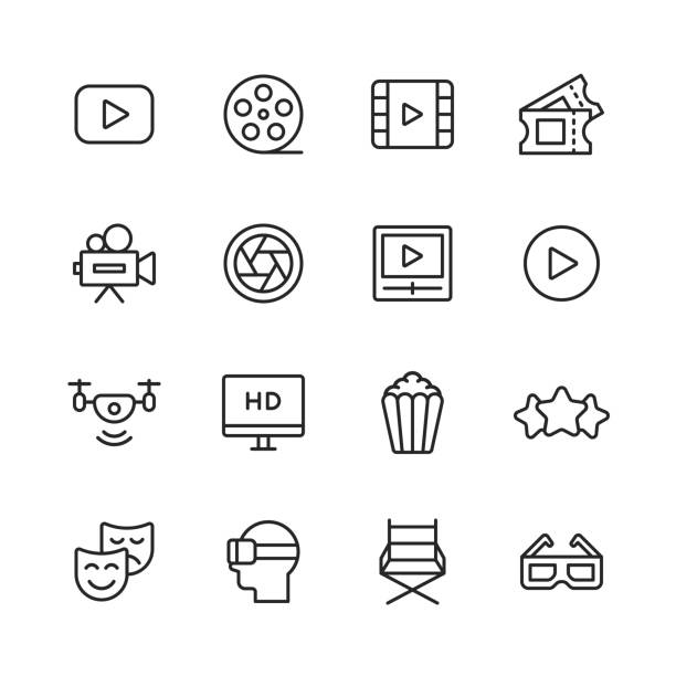 --- line icons. editable stroke. pixel perfect. for mobile and web. contains such icons as ---. - aparat fotograficzny stock illustrations