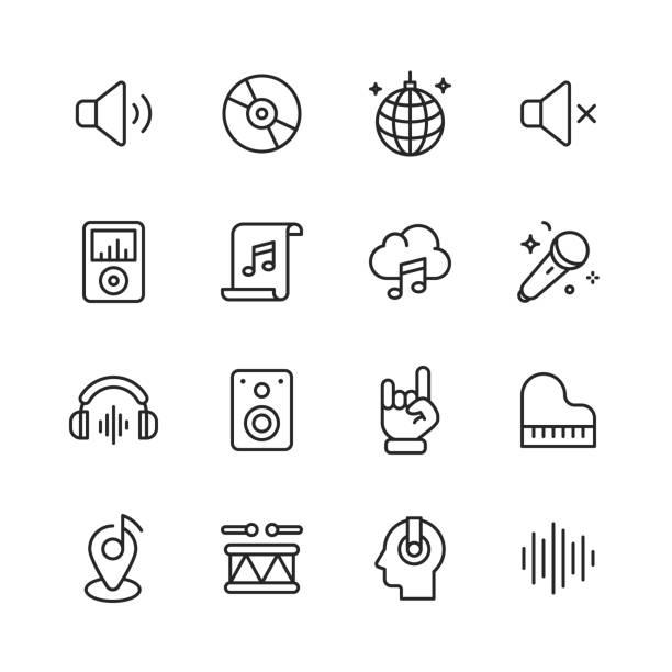 --- ikony linii. edytowalny obrys. pixel perfect. dla urządzeń mobilnych i sieci web. zawiera takie ikony jak ---. - muzyka stock illustrations