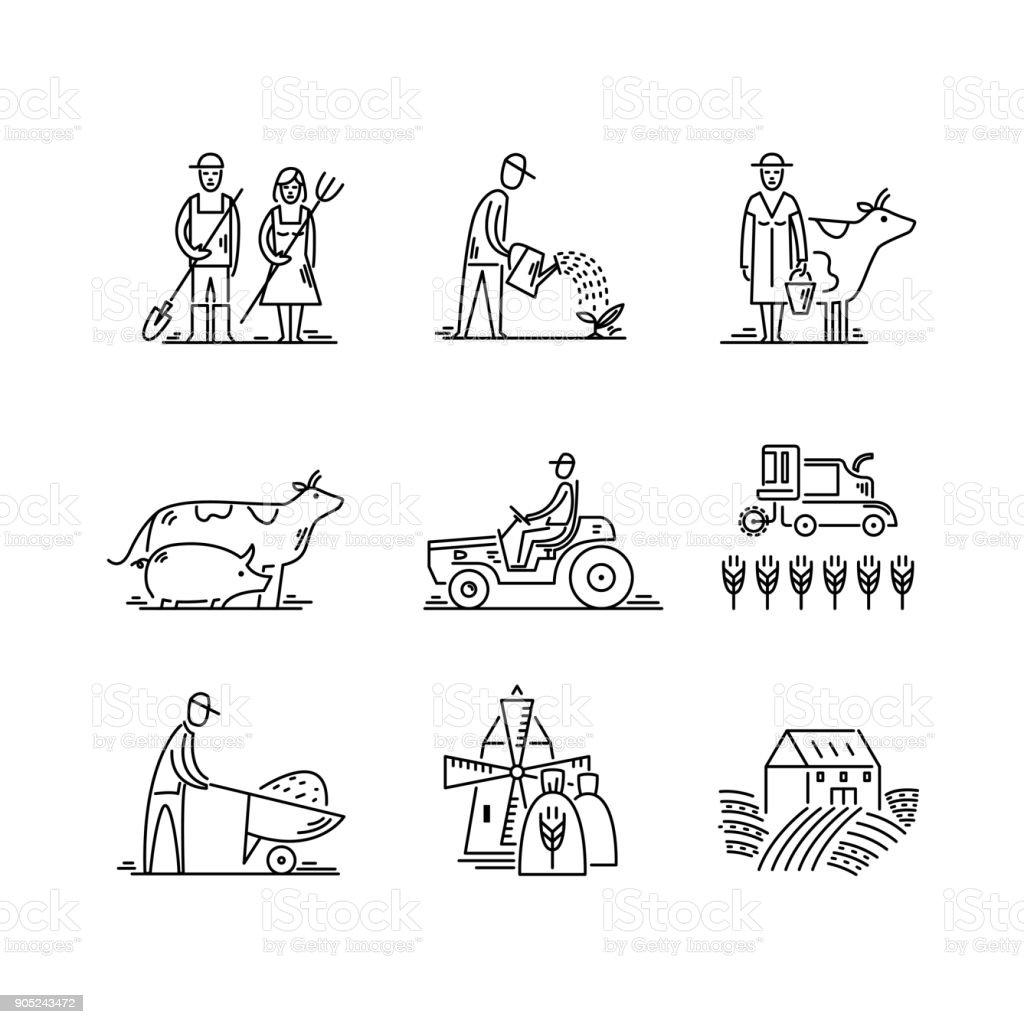 Linha agricultura de ícones e símbolos de Agronomia de agricultura, pessoas, animais, campo agrícola, equipamentos agrícolas, transporte de trator - ilustração de arte em vetor