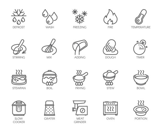 20 line icons for cooking theme. Vector set of outline symbols isolated on white background. Kitchen accessories labels 20 line icons for cooking theme. Big vector set of outline symbols isolated on white background. Kitchen accessories labels. Editable Stroke. 48x48 Pixel Perfect grater utensil stock illustrations