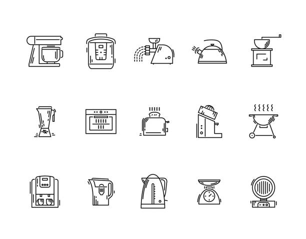 ilustrações de stock, clip art, desenhos animados e ícones de line icons kitchen utensils appliances and kitchenware - baking bread at home