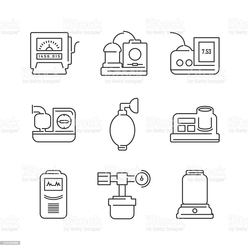 Line Icons Medical Device Icon Set of Operating Room vector art illustration