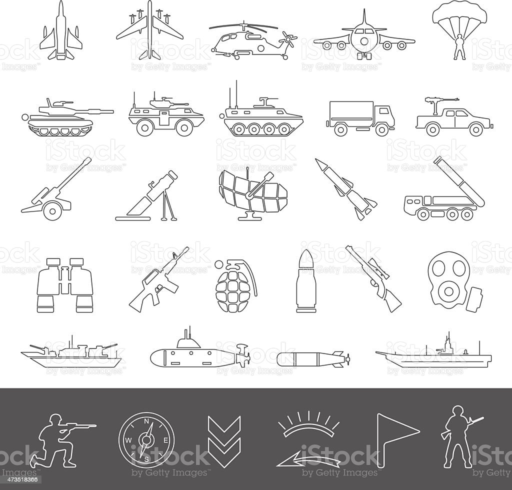 Line Icons - Military vector art illustration