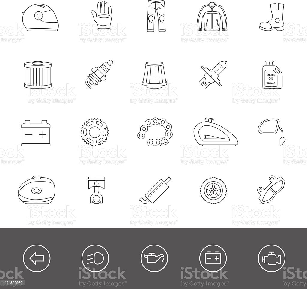 Line Icons - Motorcycle Accessories vector art illustration