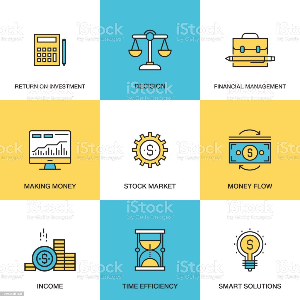 Line icons of Analytics and Investment Concept - ROI - Money Flow - Financial Management vector art illustration