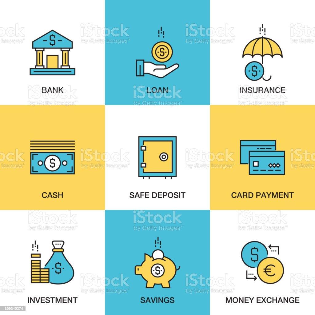 Iconos de la línea de la banca y el concepto de dinero - inversiones - seguros - Banco - préstamo - ilustración de arte vectorial