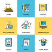 Line icons of Education and Learning Concept - Flat Line Style